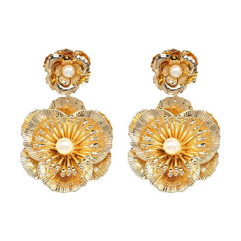 2018 New Design Fashion Jewelry Gold Metal Earrings Big