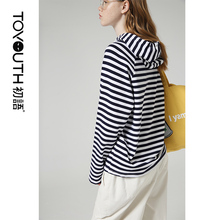 Toyouth Vintage Women Hoodies Autumn Winter Hooded Striped P