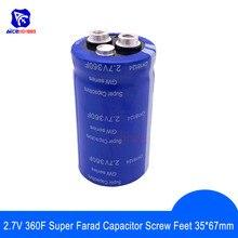 Super condensador de faradio 2,7 V 360F 35*67mm alta frecuencia baja ESR pies de tornillo Super condensador para la batería del altavoz estéreo del coche