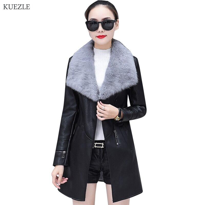 Plush   leather   jacket women 2018 Korean fashion slim autumn PU coat jacket motorcycle jackets long   leather   jacket female Black