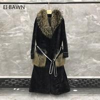 Real Fur Coat Fox Fur Collar Coat Women Plus Size Double Faced Shearling Coat Genuine Leather Liner Long Winter Coat Natural Fur