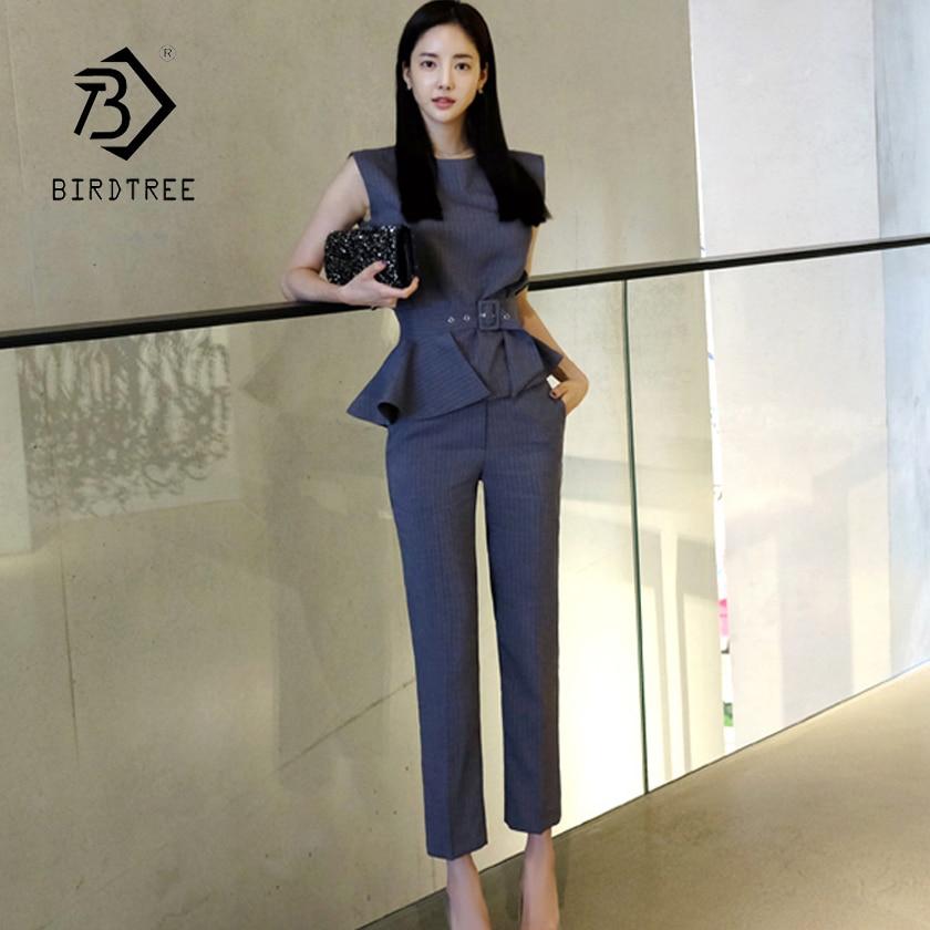 2018 New Arrival Women s 2 Piece Sets Striped Sleeveless Ruffles Belt Blazer Top Pants Elegant