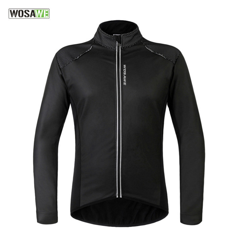 WOSAWE New Spring Winter Warm Cycling Jersey Men Long Sleeve Sport Jacket Quick Dry Breathable Riding Fitness Clothes Coat