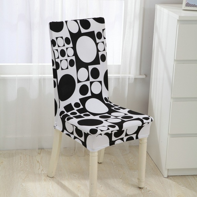 dining chair covers aliexpress camping accessories polyester spandex printed elastic for wedding party black white geometry seat v43