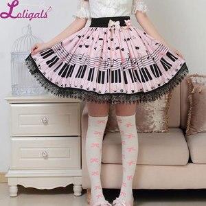 Image 5 - Милая Короткая юбка Лолиты, милая летняя юбка с принтом рояльных ключей и мелодий для женщин