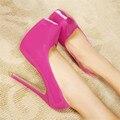 Zapatos Plus: 35-44 CD sexy 15 cm Ultra Alto Tacones Delgados plataforma de Primavera cruz zapatos de las mujeres Charol boda/bombas de vestir