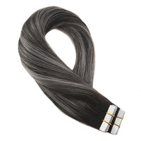 Moresoo Tape in Remy Human Hair Extensions Seamless Skin Weft Adhesive Hair Glue on Extensions Natural Black Fading to Silver