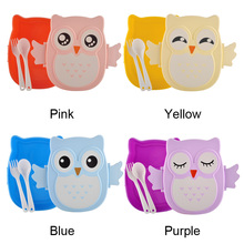 Cute Cartoon Owl 2 Layer Lunch Box Food Container Storage Portable Kids Bento Gift