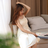 With removable pad nightgown spaghetti strap lace summer plus size solid loose dress