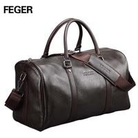 FEGER brand fashion extra large weekend duffel bag big genuine leather business men's travel bag popular design duffle handbag
