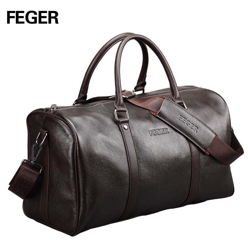 FEGER cartera personalizada de moda de la marca extra gran fin de semana de lona bolso de cuero genuino de los hombres de negocios de diseño popular de lona