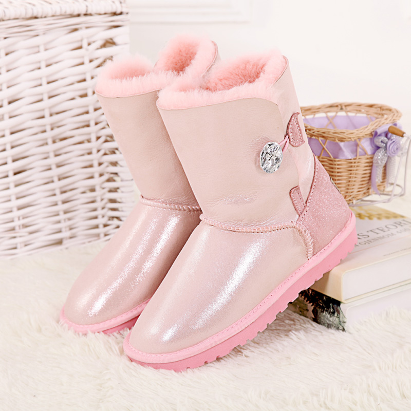 Top quality winter snow boots for women sheepskin with fur in one inside wool genuine leather Australia style boots 2016 australia genuine sheepskin leather