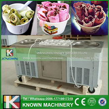 3 Compressors 45CM 2 Round Pot Fried Ice Cream Machine With 10 Buckets Fry Ice Cream Roll Pan Machine With Refrigerator
