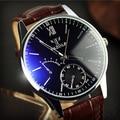 Nueva marca de Lujo De Moda de Imitación de Cuero Para Hombre de Cuarzo Analógico Reloj Casual de Negocios Masculino Relojes de Calidad Superior Negro Marrón