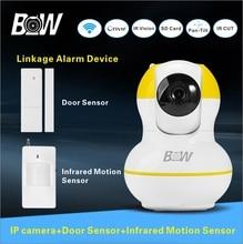 Home Security Camera WiFi P2P Megapixel 720p HD IP Camera Wireless Door Sensor Infrared Motion Sensor