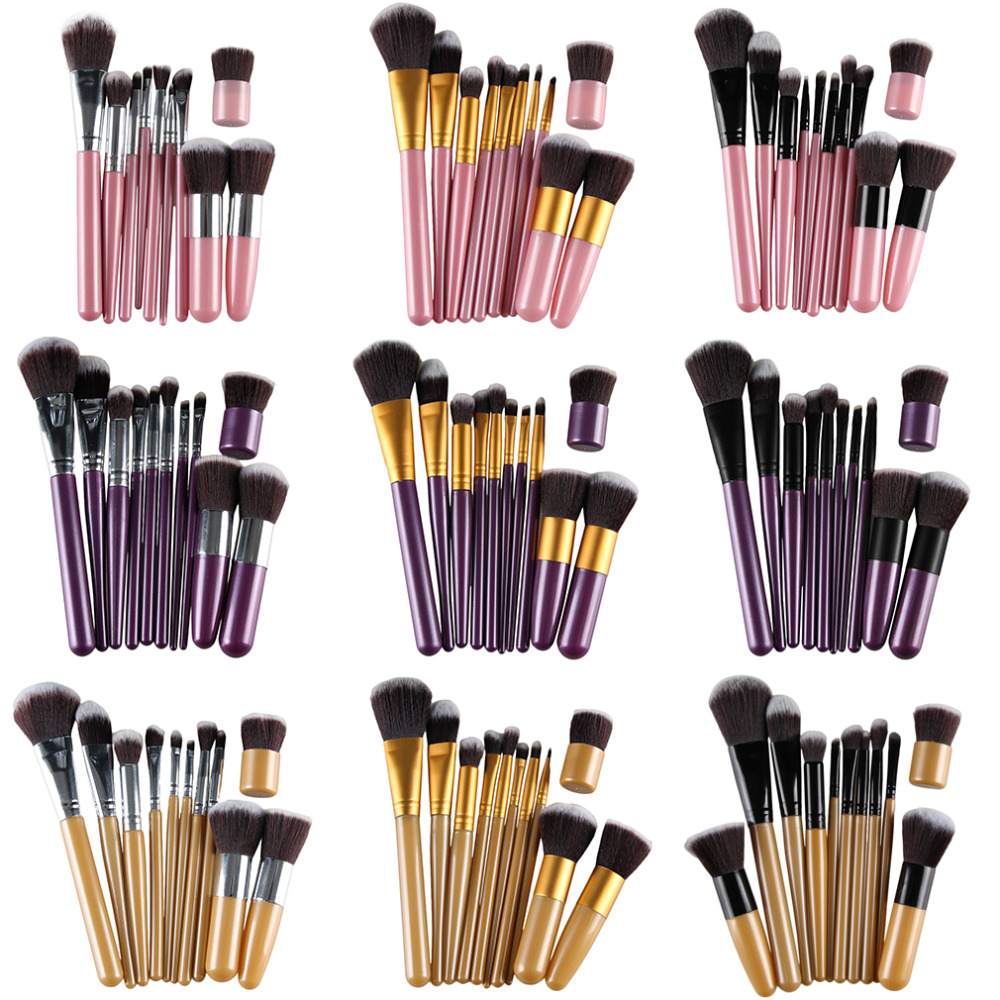 11Pcs Professional Makeup Cosmetic Soft Eyeshadow Foundation Concealer Brush Set Wood Handle Brushes Beauty Tool new store free shipping beauty and the beast rose gold makeup brush cosmetic brush woman gift eyeshadow contour concealer