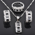 Unusual Black Cubic Zirconia For Women Silver Jewelry Sets Earrings/Pendant/Necklace/Rings  Free Shipping  JS057