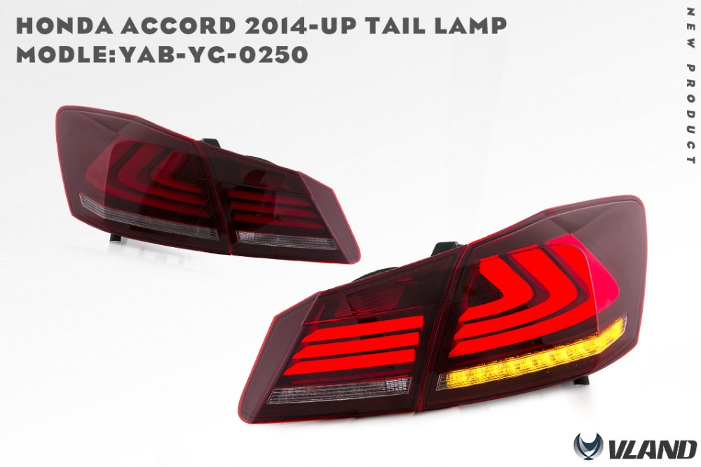 Free shipping vland car accessories performance Tail light  for accord  2014 12v plug and play high power led 5w smoke color high performance and high throughput bioinformatics