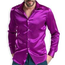 موضة لامعة حريري فستان ستان قميص فاخر الحرير مثل ملابس رجالية بكم طويل قمصان عادية أداء مرحلة ارتداء الملابس
