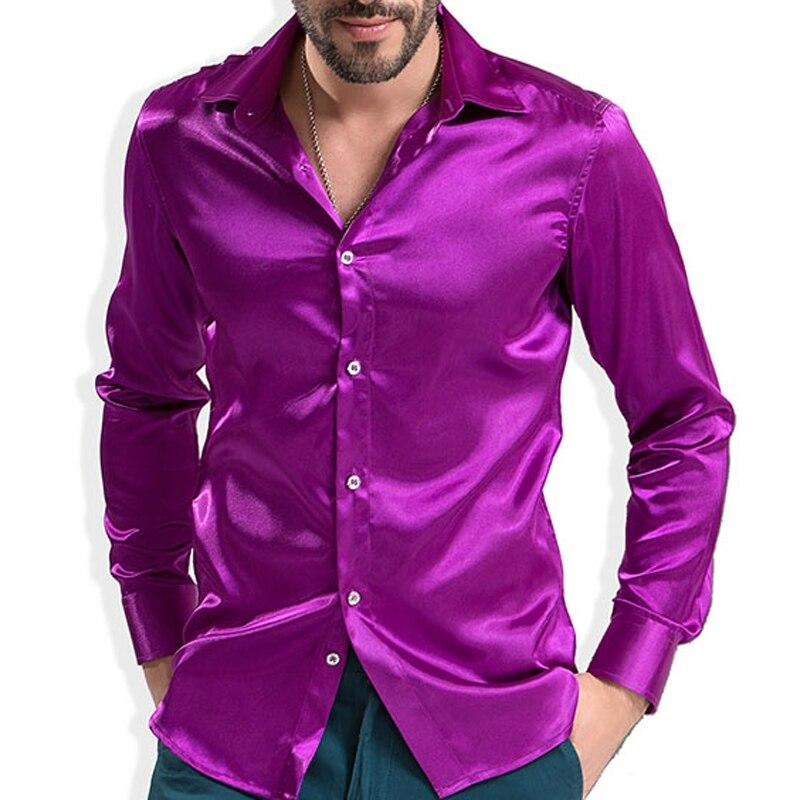 Fashion Shiny Silky Satin Dress Shirt Luxury Silk Like Long Sleeve Mens Casual Shirts Performance Stage Wear
