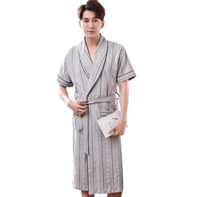 Striped Robe Men Summer Short Sleeve 100% Cotton Bathrobe Male V-neck Sexy Dressing Gown Men's Homewear Spas Long Bath Robe