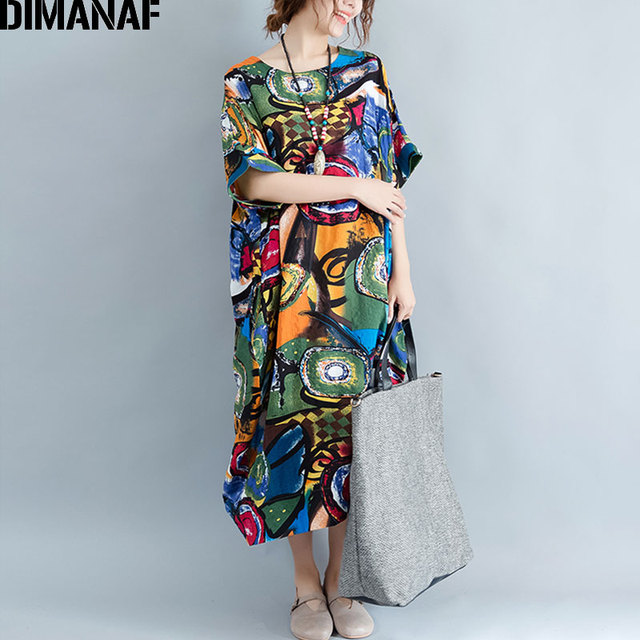 Women Dress Plus Size Summer Pattern Print Linen Colorful Female Loose Batwing Casual Retro Vintage Large Size Dresses 3