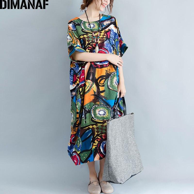 867e86f90fd80 DIMANAF femmes robe grande taille été motif imprimé lin coloré femme lâche  chauve souris décontracté rétro Vintage grande taille robes dans Robes de  Mode ...