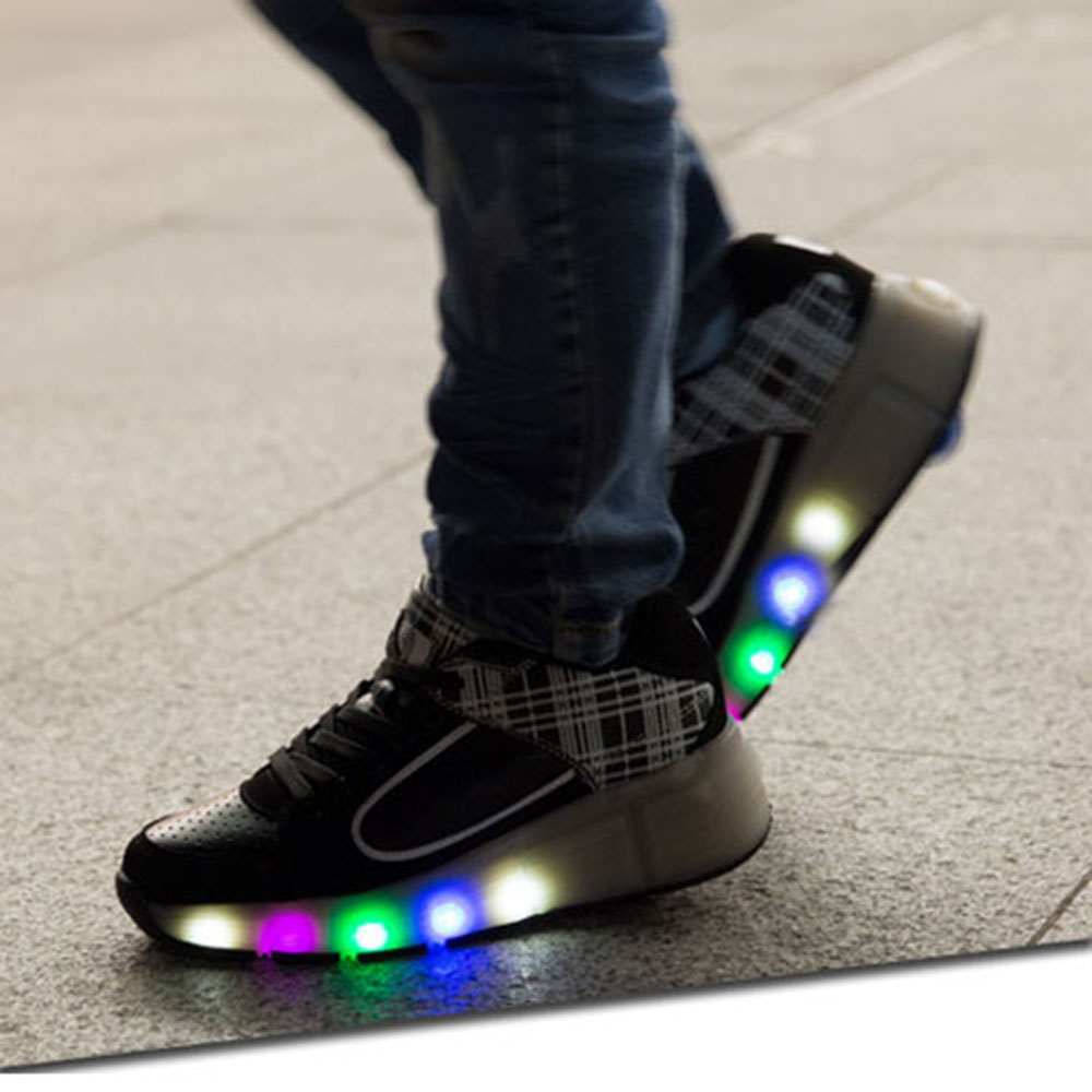049f73dff606 Popular Led Lights Heelys Children Shoes with Led Light UP Wheels Kids  Roller Skates Shoes Sneakers for Boys Girls Pink Black-in Sneakers from  Mother   Kids ...