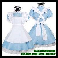 Alice harikalar Maceraları Cosplay Kostüm Suit (Tek parça Elbise + Apron + Şapkalar), Lolita Hizmetçi Yüklü Üniforma Giyim Çalış