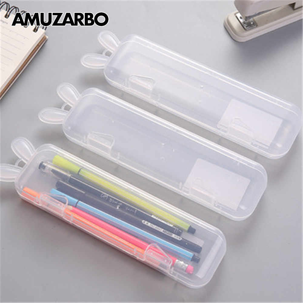 1Pcs Cute Transparent Pencil Case Rabbit Ear Multifunctional Pen Box Plastic Storage Box Learning Stationery Office Supplies