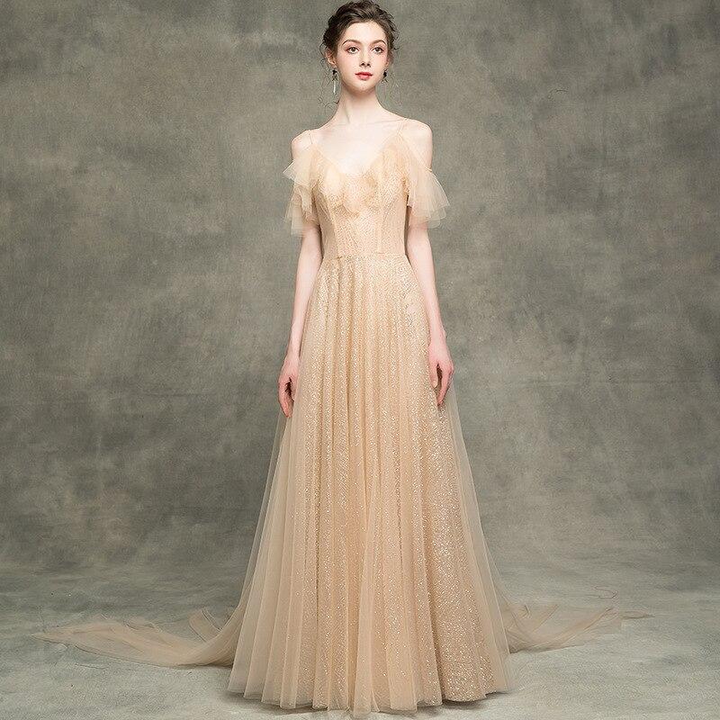 Nouveau Sequin Champagne longue robe de soirée femme 2019 sera hôte robe occasion spéciale robes sereine colline longue formelle robe gilet