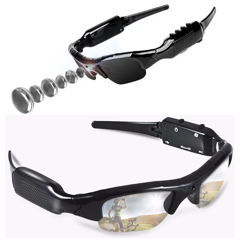480P Digital Video Recorder HD Cam Glasses Mini Camera Smart DV Cycling DVR Mobile Eyewear Sunglasses Camcorder Support TF Card