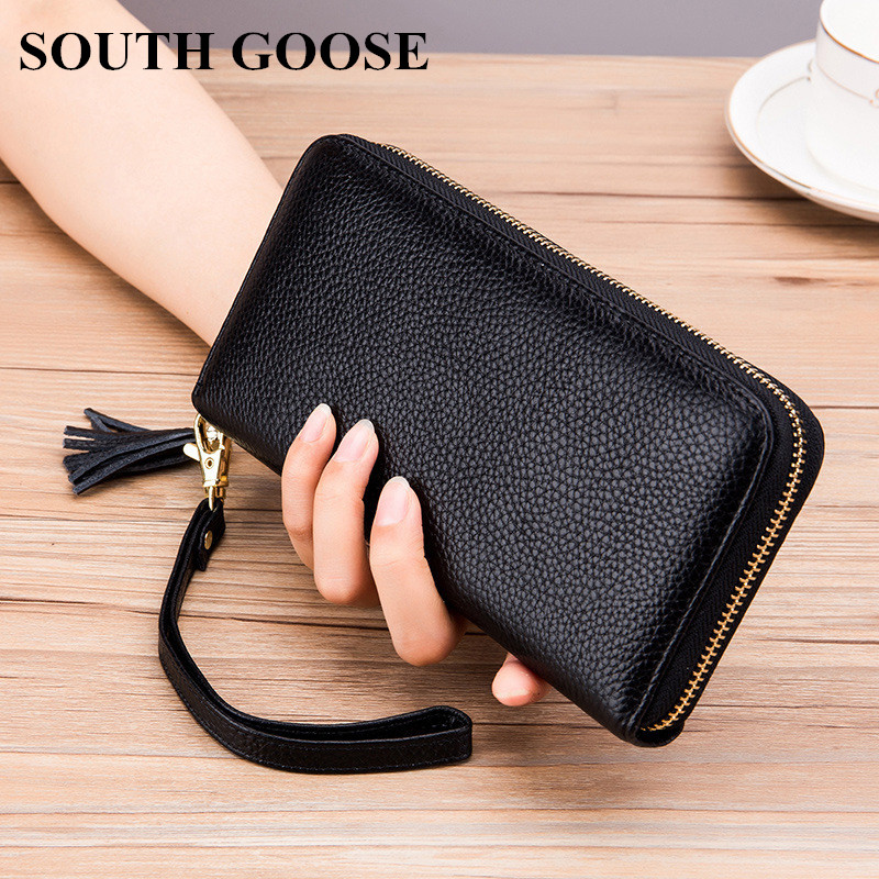 SOUTH GOOSE New Women Classic Wallet Genuine Leather Long Clutch Wallets Large Capacity Ladies Card Holder Wrist Strap Purse