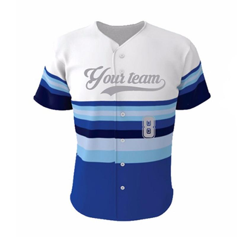 Kawasaki Merek Garis-garis Biru Kustom Baseball Jersey Kemeja untuk - Pakaian olahraga dan aksesori