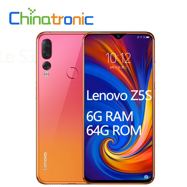 "Original Lenovo Z5S L78071 6G 64G ZUI 6.3""QHD 2340X1080 Mobile Phone Snapdragon SDM710 Octa-core Triple Rear Camera Face ID"