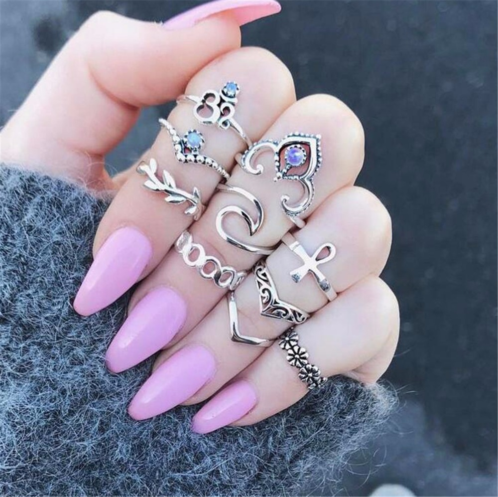 Vintage Ethnic Bohemian Flower Leaf Stone Deer Animale Ring Punk Women Crystal Knuckle Nail Midi Rings Brincos Jewelry 2017 Sets