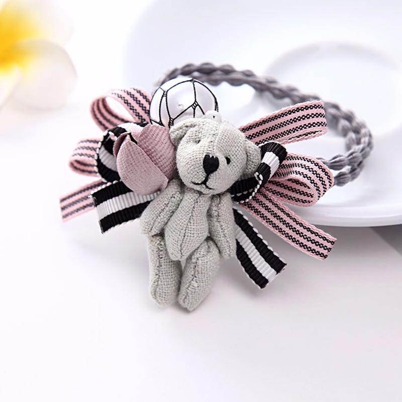 Koreai Új Gyermek Medve Haj Ring Bow Flowers Tied Kötél Gyöngy - Ruházati kiegészítők