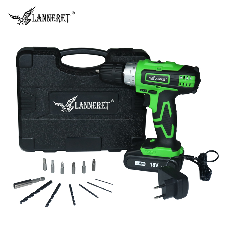 LANNERET CD18HL02 18V Lithium-ion 2 speed mini Electric Cordless  Screwdriver Drill Tools&13 Piece Accessories фразеологизмы обиходной жизни mini cd