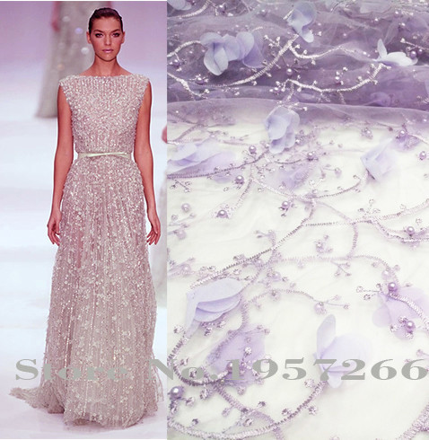 Hot Sale Guipure French Lace Fabric High Quality African Tulle Lace Fabric Beaded Cheap Nigerian Lace Fabrics For Women D3029