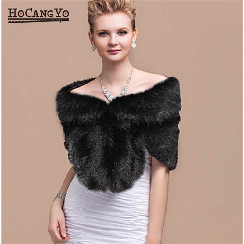 HCYO Winter Bridal Faux Fur Coat Women Wedding Shawl Evening Party Wraps Slim Fur Shoulder Capes Elegant Ladies Faux Fur Cloak