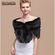 HCYO Winter Bridal Faux Fur Coat Women Wedding Shawl Evening Party Wraps Slim Fur Shoulder Capes Elegant Ladies Faux Fur Cloak(China)
