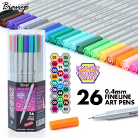 Bianyo 26Color 0 4mm Fineliner Pen Sketch Marker Art Color Gel Pen Industrial Design Set Neon