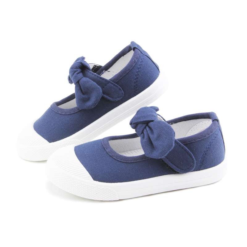 Baby Girl Shoes Canvas Casual Kids Shoes With Bowtie Bow-knot Solid Candy Color Girls Sneakers Children Soft Shoes 21-30 9