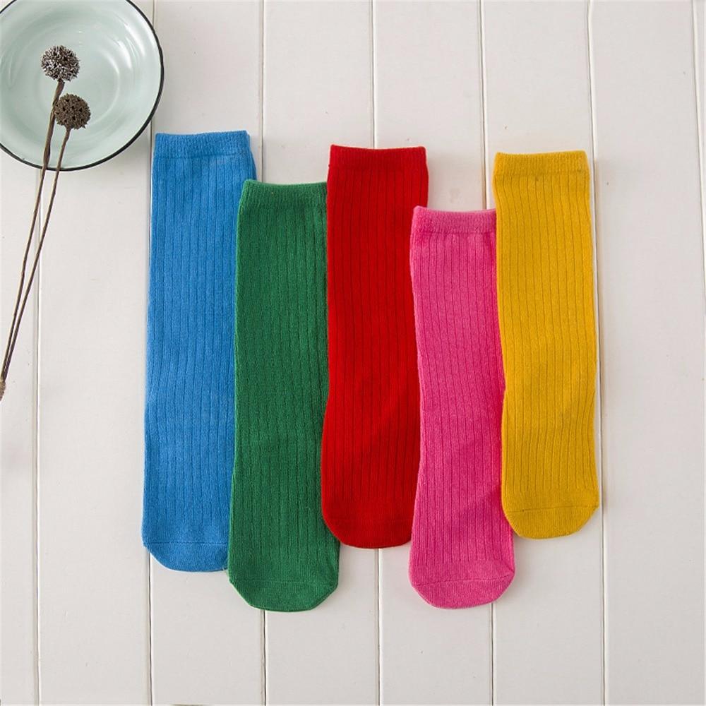 Candy Color Kid Socks For Toddler Girls Cotton Knee High Tube Socks Children 0-3 Years цена