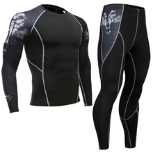 Wolf head 3D printing mens set compression top + leggings base Capa CrossFit fitness brand MMA long-sleeved T-shirt