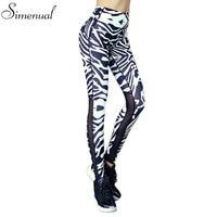 Fitness Mesh Splice Leggings Women Zebra Crossing Athleisure Elastic Slim Jeggings Harajuku Print Female Legging Pants