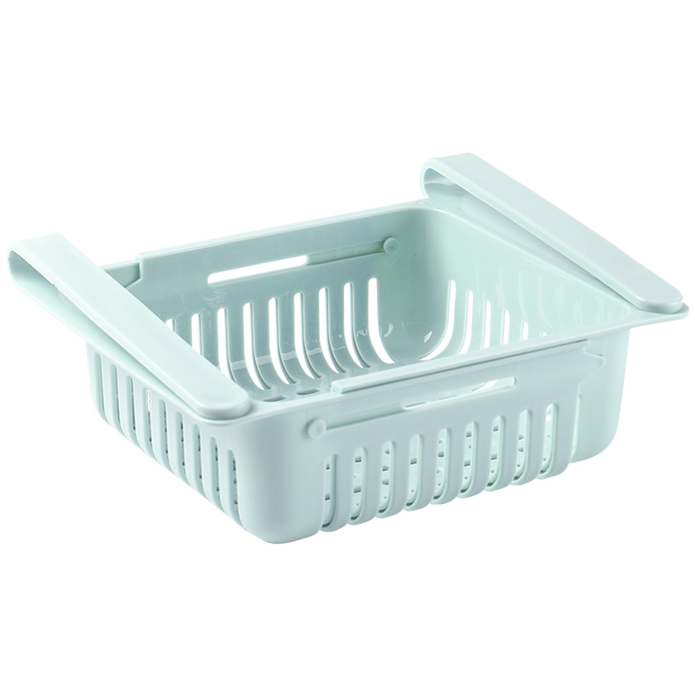 Kitchen Free Punching Fruit And Vegetable Drawer Storage Box Retractable Refrigerator Cabinet Hollow Storage Basket    WY7091746