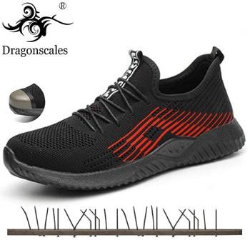 Iluminar Zapatillas De Deporte | 2019 Zapatos De Seguridad Para Hombre Transpirable Malla Ligera Zapatilla De Deporte Indestructible Acero Punta Suave Anti-piercing Botas De Trabajo Talla Grande 36-48