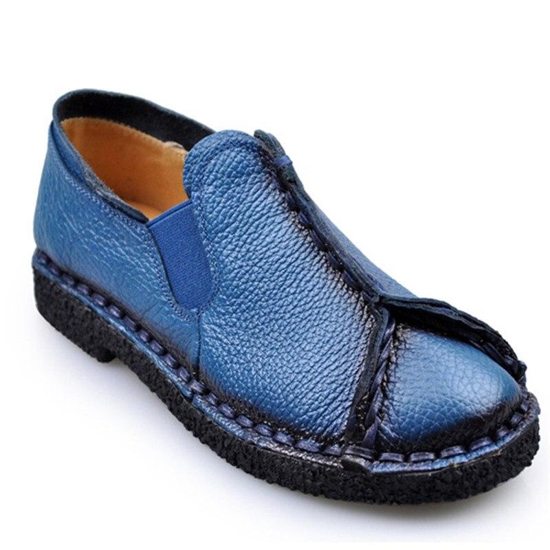 Printemps Chaussures Casual À Noir Cuir La Et bleu En Femmes Nationale Vachette rouge Femelle E118 De Véritable Main Appartements Automne Souple Mvvjke 2018 fvnRW685w