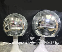 Ballroom dance costumes mirror men women singer stage show wears dj clothes Glass ball led helmet catwalk disco performance